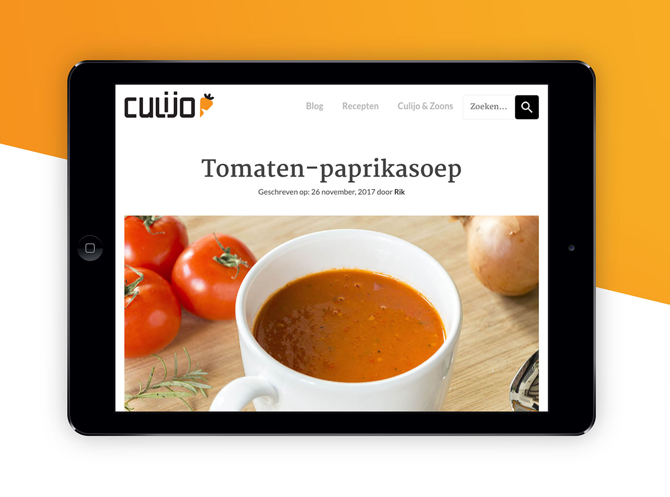 Tablet webdesign culijo kookwebsite