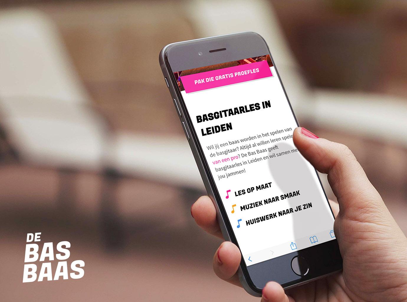 De Bas Baas Website Mobiel Ontwerp