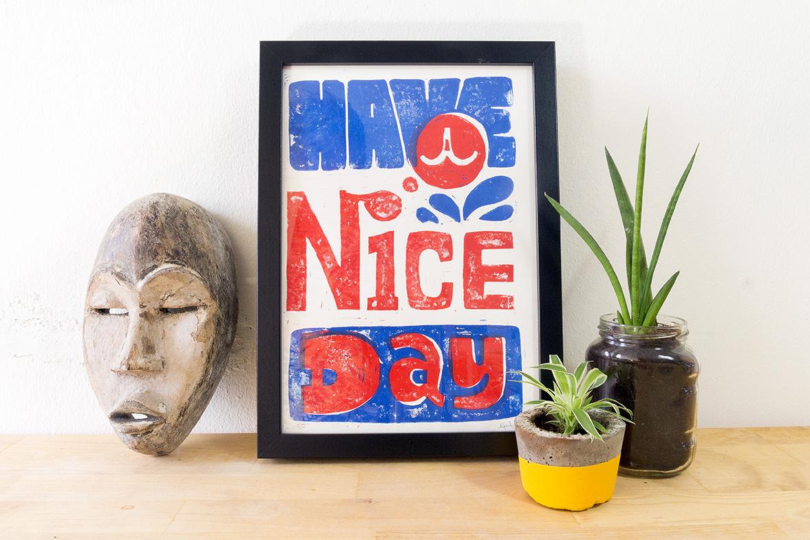 Handgedrukte typografische print