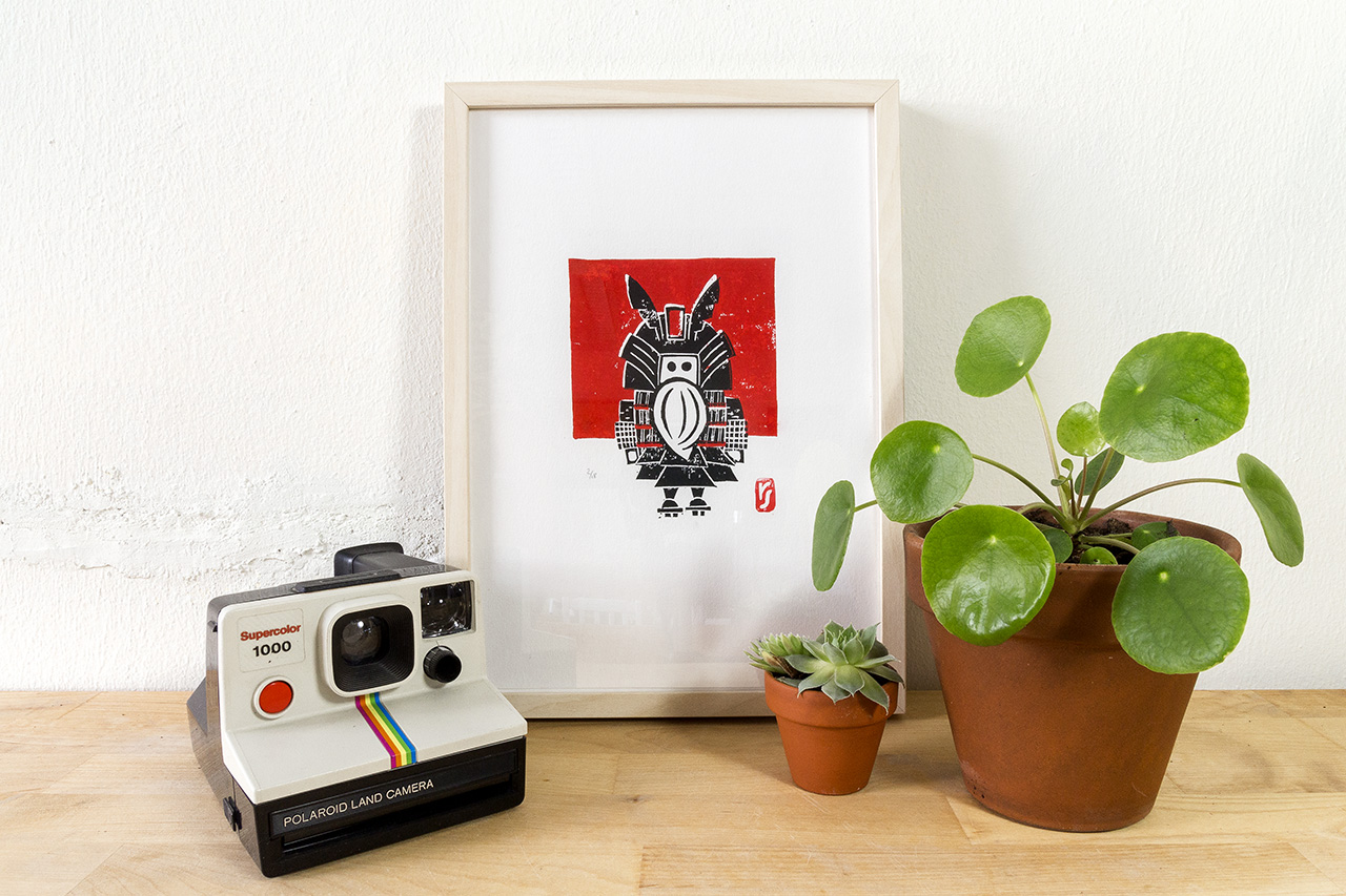 Samurai A4 Print Linosnede