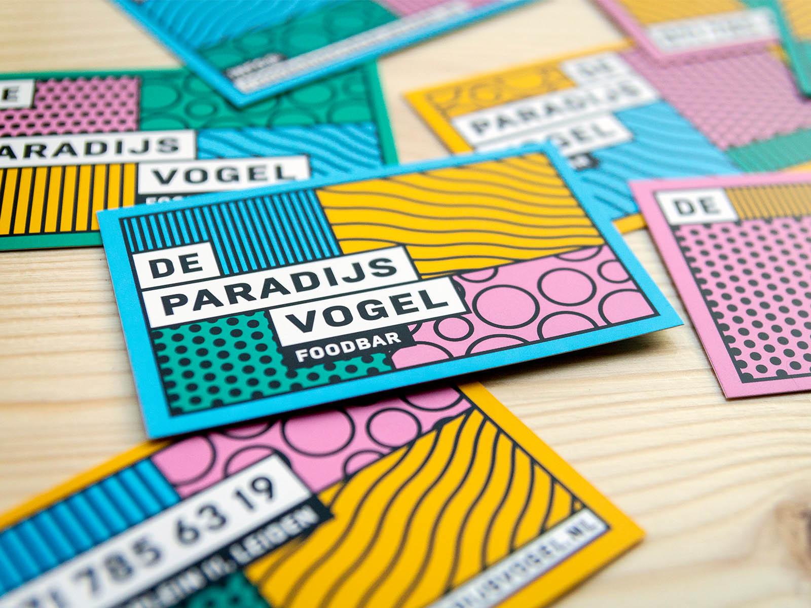 Visitekaartjes ontwerp logo paradijsvogel